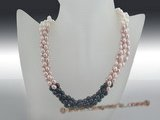 tpn146 Fashion Mix-color Freshwater rice Pearl twisted Necklace