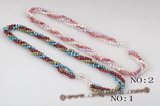 tpn149 Colorful 4-5mm nugget seed pearl twisted necklace in wholesale