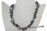 tpn151 Black & white pearl designer necklace for 2009 spring