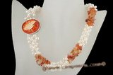 tpn152 White side drilled pearl & red agate clustered choker necklace