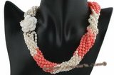 tpn155 Nine rows Freshwater pearl and pink coral twisted Necklace