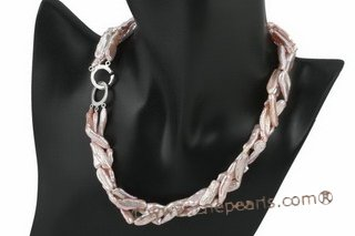 tpn158 Elegance Purple freshwater biwa pearl twisted necklace