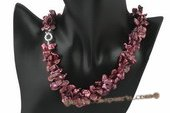 tpn162 Double rows wine red side drilled keshi pearl twisted necklace