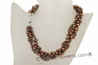 choker necklace, 6-7mm dark coffee side-dirlled cultured pearl twisted necklace in 4 rows tpn163 Cnepearls Ltd :  coffee color pearl twisted necklace
