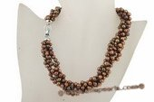tpn163 6-7mm dark coffee side-dirlled cultured pearl twisted necklace in 4 rows