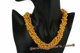 tpn166 Six Rows gold side drilled seed pearl Torsade choker necklace