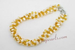 tpn177 Triple Rows White Nugget Pearl & Crystal Twisted Necklace