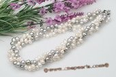 tpn180 White Mix Grey Freshwater Potato Pearl Twisted Necklace in Triple Rows