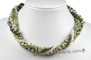 tpn191 multi-strand twist pearl necklace mix nugget pearl  with peridot stone beads