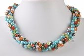 tpn195 Four rows colorful twisted 6-7mm colorful nugget pearl twisted necklace