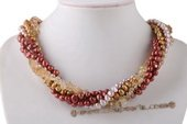 Tpn202 Newest Five Rows Colorful Cultured Pearl Twisted Necklace