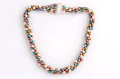 Tpn205 Colorful Four Rows 4-5mm Cultured Pearl Twisted Necklace