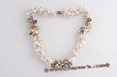 Tpn206 New style Mix Color Freshwater Keshi Pearl Twisted Necklace