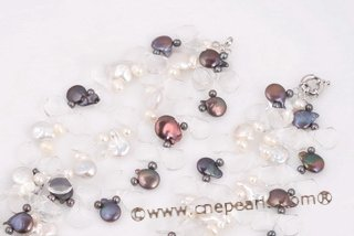 Tpn207 New style Side Drilled Coin Pearl and Crystal Twisted Necklace