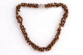 Tpn209 Designer Three Twisted Rows Side Drilled Necklace in Coffee color