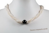 Tpn210 New Style Cultured Pearl & Agate Summer Day Twisted Necklace