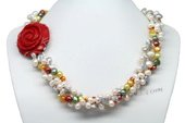 Tpn213 Newest Three Rows Colorful Cultured Pearl Twisted Necklace