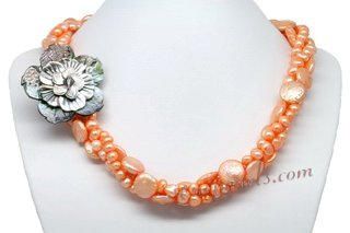 Tpn214 Timeless Three Rows Orange Cultured Pearl Twisted Necklace