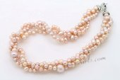 Tpn216 Elegant Triple Strands Purple Cultured Pearl Twisted Necklace