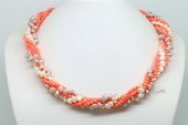 Tpn218 White, Pink Pearl and Coral Multi Strand Twisted Necklace