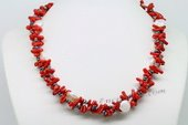 Tpn219 Double Strands Seed Pearl with Coral Beads Twisted Necklace