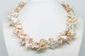 TPN221 Lustre Large Keshi Pearl Two Strands Twisted Necklace