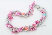 Tpn224 Pink Blister Pearls and Grey Side Drilled Pearl Twisted Necklace