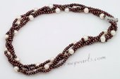Tpn225 Elegant Triple Strands Brown Seed Pearl Twisted Necklace