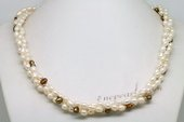 Tpn226 Elegant Rice Shape Seed Pearl Triple Strands Twisted Necklace