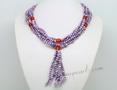 Tpn227 Casual styles Purple Seed Pearl and Agate Opera Y style Necklace