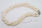 Tpn229 Exclusive Five Strands Cultured Potato Pearl Twisted Necklace