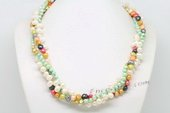 Tpn232 Mixcolor Freshwater Cultured Pearl Clearance Twisted Necklace