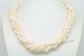 Tpn233 Elegant Triple Strands Cultured Nugget Pearl Discount Twisted Necklace