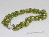 tpn237   8-9mm pink potato pearl&gemstone twisted necklace in wholesale