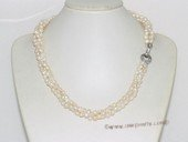 tpn239 4-5mm white nugget freshwater pearl twisted necklace in three strand