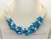 Tpn243 Five strand white cultured pearl and blue turquoise twist necklace