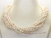 Tpn244 Five strand white cultured pearl and rose quartz twist necklace