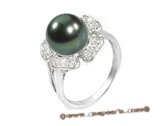 Tpr001 10-11mm Tahitian Pearl & Clear CZ&#39s Ring in Sterling silver