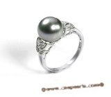 Tpr004 Sterling silver 10-11mm black Tahitian Pearl & Swarovski CZ&#39s wedding Ring