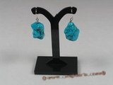 tqe004 Sterling 15*19mm blue nugget turquoise beads dangling Earring