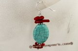 tqe012 Turquoise Jewelry and Coral Gem Stone Dangle Earrings