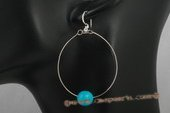 Tqe015 10mm round turquoise oval dangle earring with 925silver hook