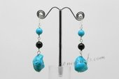 Tqe016 Turquoise And Black Agate Dangle Earrings