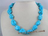 tqn004 blue irregular shape turquoise necklace