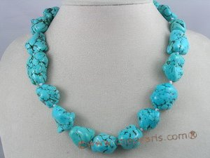 tqn006 30*20mm blue nugget shape turquoise necklace