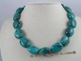 tqn007 20*15mm blue oval shape nature turquoise necklace