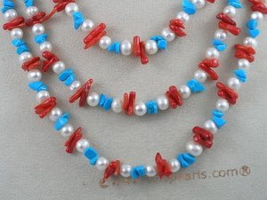 "tqn011 48"" branch bule turquoise beads necklace"