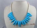 tqn012 bule capsicum shape bule turquoise beads necklace