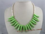 tqn013 green capsicum shape bule turquoise beads necklace