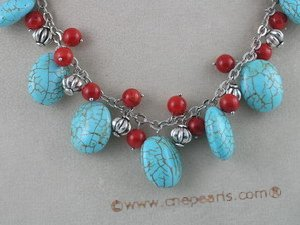tqn014 15*19mm Oval BlueTurquoise Necklace with Red Coral & silver chain